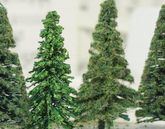 "Flocked Forest Trees  - 2"" Tall - 5 Pcs Set (218-0301)"